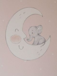 Pink Baby Elephant on Moon by LittleCupCreations on Etsy