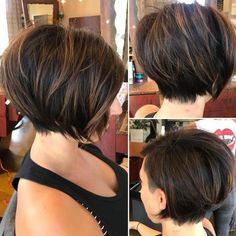 70 Cute and Easy-To-Style Short Layered Hairstyles, MAKE UP, Asymmetrical Brown Balayage Bob. Short Pixie Haircuts, Haircuts With Bangs, Hairstyles Haircuts, Short Bob Hairstyles, Cool Hairstyles, Layered Hairstyles, Pixie Bob, Wedding Hairstyles, Medium Hairstyles