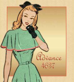 Vintage Pattern Advance 4637 - 1940s WWII Swing Era Capelet Dress. $15.00, via Etsy.