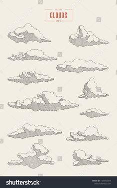 Cloud Drawing, Painting & Drawing, Cloud Art, Pencil Art Drawings, Art Drawings Sketches, Ink Illustrations, Tattoo Drawings, Landscape Drawings, Landscape Sketch
