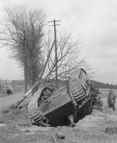 German Jagdpanther tank destroyer flipped over by an aerial bomb near Altenkirchen Germany 1945.