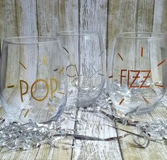 New Year's Wine Set-Pop Clink Fizz-New Year's Eve-New Year's Party Glasses-New Year's Wedding-Wine Tumbler-New Year's 2016-Wine Glass Set by ALittleLadyandMe on Etsy