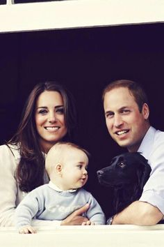 royalwatcher:  Cropped photo of the Cambridge Family-William, Catherine, George, and dog Lupo