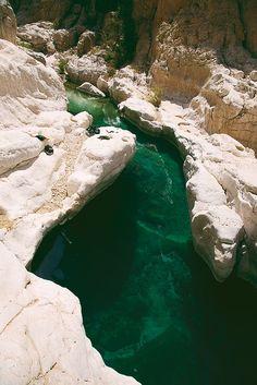 Clear waters in Wadi Bani Khalid oasis, Oman