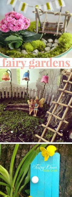 how to make a fairy garden, some accessories you can make and what plants you can use.