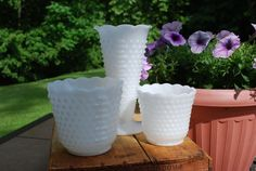 Three Fire King Hobnail Milk Glass Pieces by AGlimpseFromthePast