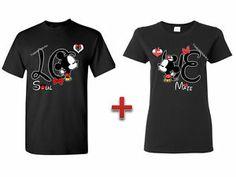Adorable! Couple Matching T Shirt Mickey Minnie Kissing Love Tees Couple Crewneck Cute Tee | eBay