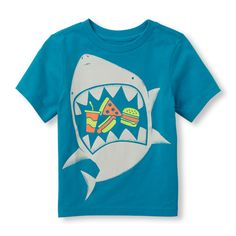 Toddler Boys Short Sleeve Fast Food Eating Shark Glow-In-The-Dark Graphic Tee