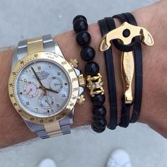 The Zorrata gold anchor bracelet paired with the white crystal royal bracelet X Rolex. Shop at [www.sleeveclub.com] Free worldwide shipping on all orders. Follow @sleeveclub @sleeveclub