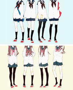 Japanese uniform are so cute *-* Anime Uniform, Manga Anime, Anime Art, Girls Manga, Drawing School, Anime School Girl, Japanese School Uniform, Image Manga, Poses References