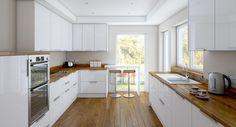 Bois Comptoirs de cuisine modernes deux lignes blanches des façades à haute brillance