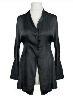 Damen Satinbluse, schwarz von Made in Italy bei www.meinkleidchen.de