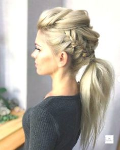 viking ponytail women - Google Search Braided Ponytail Hairstyles, Braided Hairstyles Tutorials, Diy Hairstyles, Ponytail Ideas, Gorgeous Hairstyles, Hairstyle Ideas, Simple Hairstyles, Low Ponytails, Hair Tutorials