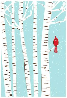 Screenprint  Winter Cardinal Art Print  - Poster Silkscreen Art Print - Snowy Birch Trees & Red Bird Art Print