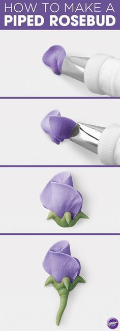 How to make a Piped Rosebud - Finish your petit fours or cupcakes with one pretty Rosebud. Made in buttercream, this flat flower can be piped directly on the cake in your favorite colors. #cakedecoratingtechniques