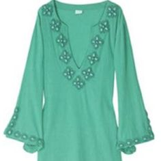 "Melissa Odabash Beaded Caftan Gorgeous beaded detail on neck and sleeves of this green caftan.  Used once.  Color best shown in second picture.  Measurements lying flat are approximately 19"" pit to pit and 32"" from top to bottom. No trades. Melissa Odabash Swim Coverups"