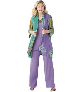 dbe9ff39c44 Ulla Popken Plus Size Batik Duster - Lavender Multi