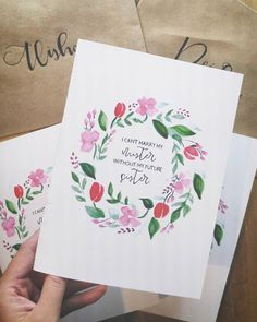 I handmade bridesmaid proposal cards for my future sister in laws. So happy with how they came out. #bridesmaid #proposal #handmade #cards #envelopes #floral #sister