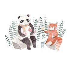 Pandas taking a tea break - By Julianna Swaney