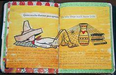 Journal by Crazyquilter, via Flickr. A Spanish-English art journal!