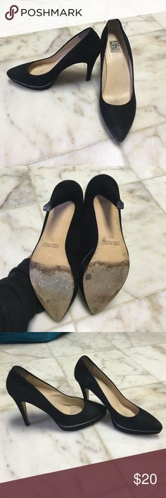 Barney's Co-op black suede heels Co-op by Barney's NY black suede hidden platform heels made in Italy size 38 has silver accent along the platform Barneys New York CO-OP Shoes Heels