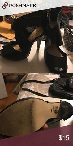 BLACK CROSS HEELS Black crossed heels, comfortable, lightly worn. Smoke free home. Aldo for exposure Aldo Shoes Heels