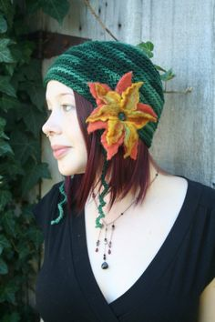 Pixie Style Ear Flap Hat with Felted Flowers by SundialArts