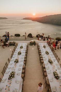 This Santorini Wedding Had the Most Amazing Oceanfront Reception Beach Wedding Locations, Wedding Places, Destination Wedding, Wedding Venues, Santorini Wedding Venue, Wedding Dinner, Wedding Day, Sunset Wedding, Wedding Wishes