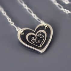 Etched Silver Blooming Heart Necklace by Lisa Hopkins Design
