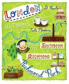London map by Linzie Hunter London Poster, London Map, London Travel, London City, Colorful Roses, Things To Do In London, London Calling, Vintage Travel Posters, Great Britain