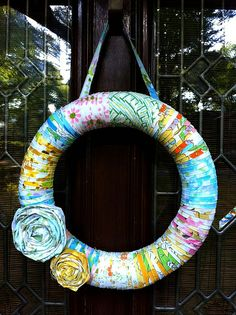 spring wreath from vintage sheets - because I have plenty of those, and fabric scraps!