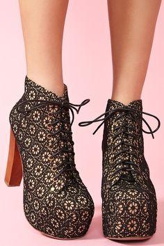 Lita Platform Boot - Black Crochet