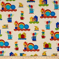 Salsa Pottery Main Cream from @fabricdotcom  Designed by Studio 8 for Quilting Treasures, this cotton print fabric is perfect for quilting, apparel and home decor accents. Colors include black, shades of blue, shades of red, shades of orange, shades of green, shades of yellow and cream.