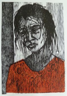 Laura Castell, woodcut and chine colle