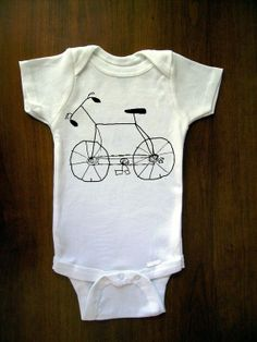 Free Bike Rides Bike Drawing, Baby Onesie From TrulySanctuary, Great Baby Shower Gift, First Birthday Gift Or Party Favor, Bicycle, Cycle.
