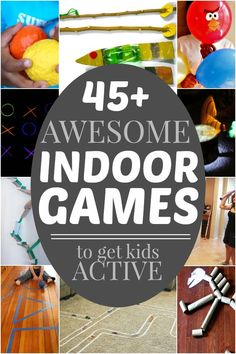 Lots of active indoor games for kids when it's too cold to go outside.  Perfect for cold weather and snow days!