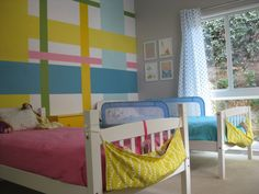 Colorful Shared Brother/Sister Room - love this fab plaid accent wall!
