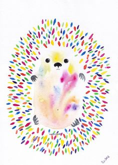 Happy Rainbow Hedgehog   Art Painting  Original by cat2owl on Etsy, $22.00