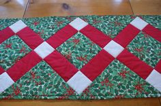 Red White Green and Gold Holly Leaves and by LuluBelleQuilts, $35.00