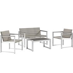 Embark Outdoor Patio Aluminum Patio Sectional Set in Silver Chocolate