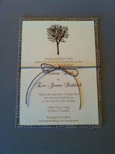 Wedding Invite with burlap...I love this!
