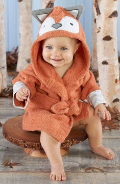Baby Aspen \'Rub-A-Dub, Fox-in-the-Tub\' Fox Hooded Terry Robe (Baby) | Nordstrom
