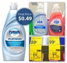 Dawn Coupon Reset: Dish Liquid, Only $0.49 at Walgreens!