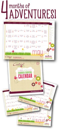 The Confident Mom's Summer Survival Calendar For The Best Summer Ever!   The 2013 Summer Survival Calendar is a four month calendar with over 120 activities to blast boredom and increase family time. It features at least one low-budget (and sometimes free) activity, craft project, or kid friendly recipe every day from May 1 to August 31.