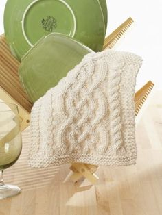 Celtic Cables Dishcloth | Yarn | Free Knitting Patterns | Crochet Patterns | Yarnspirations