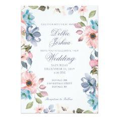 Pastel Blue Pink Purple Flower Wedding Invitation - invitations custom unique diy personalize occasions