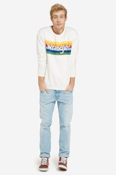 "Get on that Seventies trend with this sweatshirt from Wrangler, inspired by the items in its archive to celebrate the brand's 70th birthday.  [note]£55. [link url=""http://www.wrangler.co.uk/uk-en/mens-clothing/wrangler-story/wranglers-retro-birthday-collection-men/rainbow-sweat-w6528hp02.html""]wrangler.co.uk[/link][/note]"
