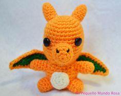 Mi pequeño mundo rosa ♥: Charizard a Crochet: Patrón en Español e Inglés / Spanish and English Pattern