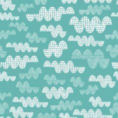 Clouds in Aqua - Rashida Coleman spoonflower print