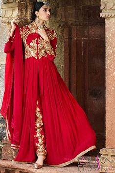 Party Wear Achkan Style Red Color Salwar Suit  http://www.fashionfemina.com/catalogs/miraculous-wedding-special-salwar-suit-collection/ #party wear salwar suit, #anarkali suit #designer Suit #wedding collection #heavy salwar suit #embroidery salwar suit #women dresses #latest fashion suit #wedding 2016 salwar suit
